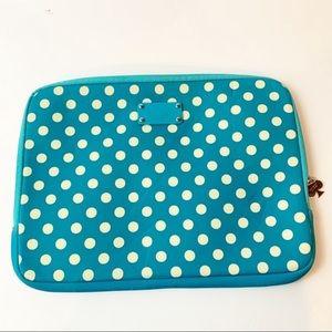 Kate Spade 13x10 Soft Laptop Case Logo Classic Spade Zipper Pull Blue Polka Dot